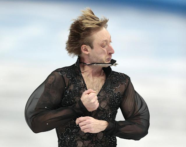 Evgeni Plushenko of Russia competes in the men's team free skate figure skating competition at the Iceberg Skating Palace during the 2014 Winter Olympics, Sunday, Feb. 9, 2014, in Sochi, Russia. (AP Photo/Ivan Sekretarev)