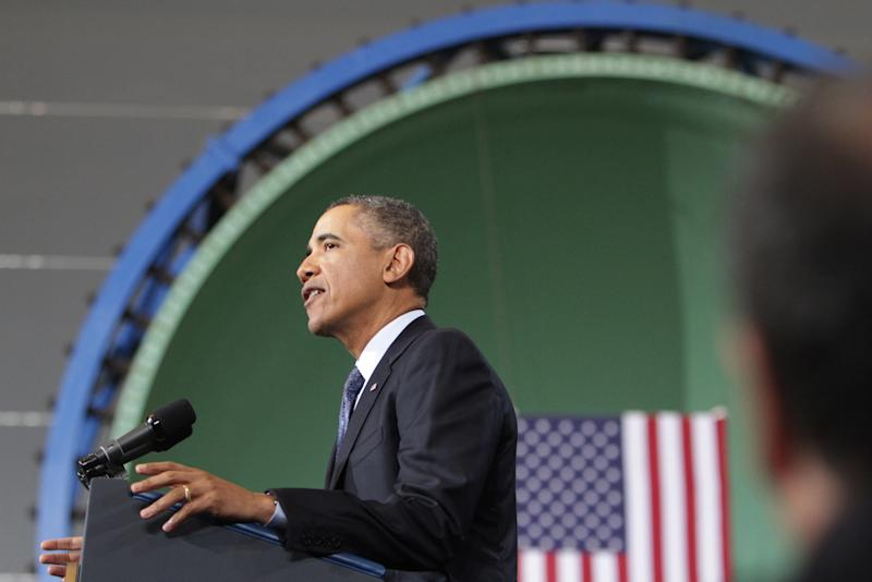 President Barack Obama speaks at Newport News Shipbuilding Tuesday, Feb. 26, 2013, as part of his public campaign to sway Congress to block automatic spending cuts that are scheduled to begin on March 1, in defense and domestic programs. (AP Photo/The Virginian-Pilot, Steve Earley)
