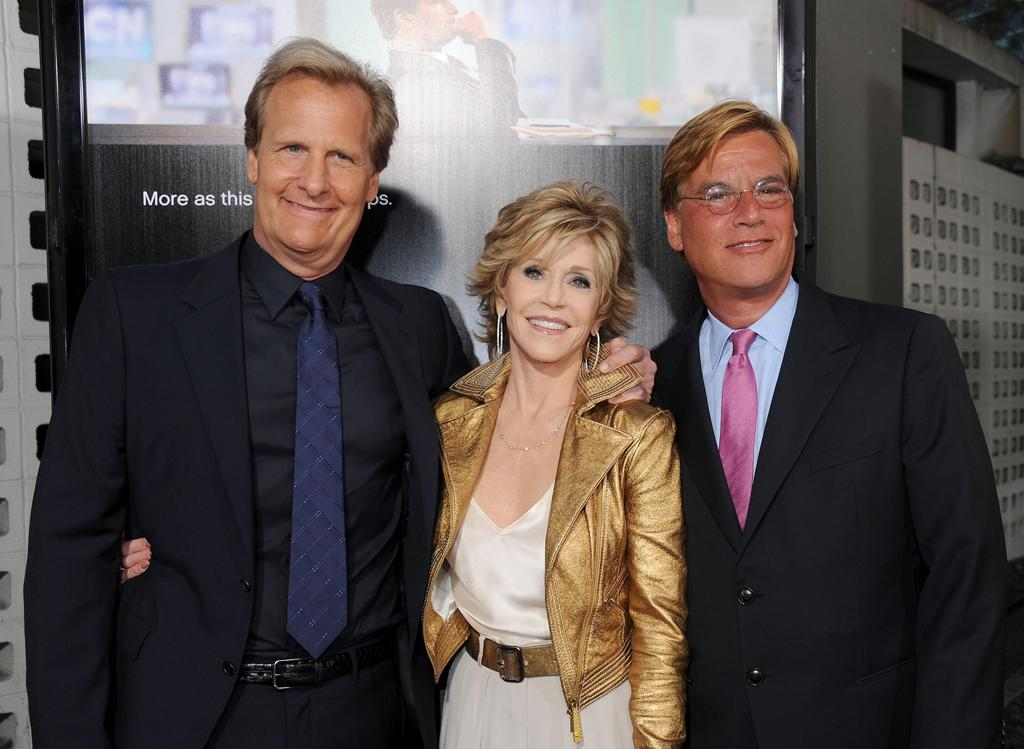 """Jeff Daniels, Jane Fonda and creator/executive producer Aaron Sorkin arrive at the Los Angeles premiere of HBO's """"The Newsroom"""" at ArcLight Cinemas Cinerama Dome on June 20, 2012 in Hollywood, California."""