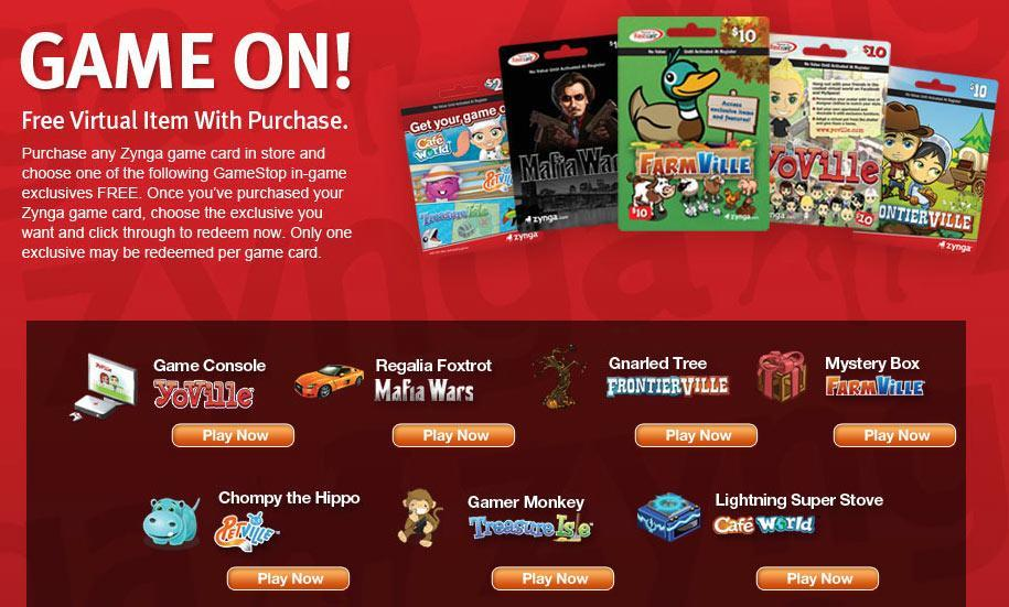 Zynga and GameStop Promotion