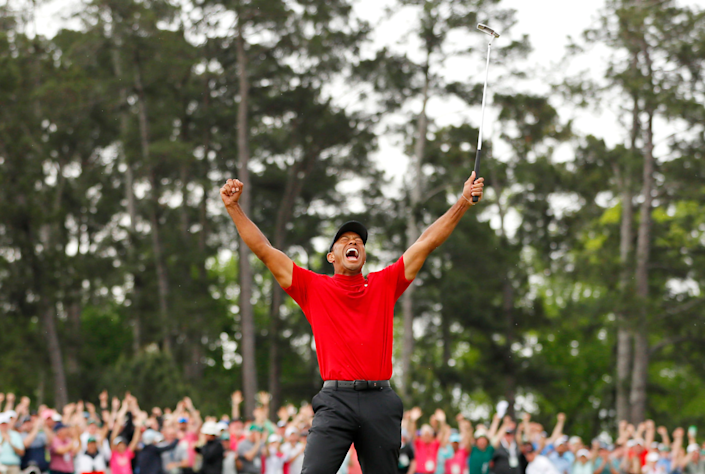 Tiger Woods celebrates after winning the 2019 Masters.