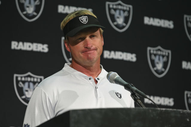 Oakland Raiders head coach Jon Gruden answers questions during a news conference after an NFL football game against the Los Angeles Rams in Oakland, Calif., Monday, Sept. 10, 2018. Los Angeles won the game 33-13. (AP Photo/Ben Margot)