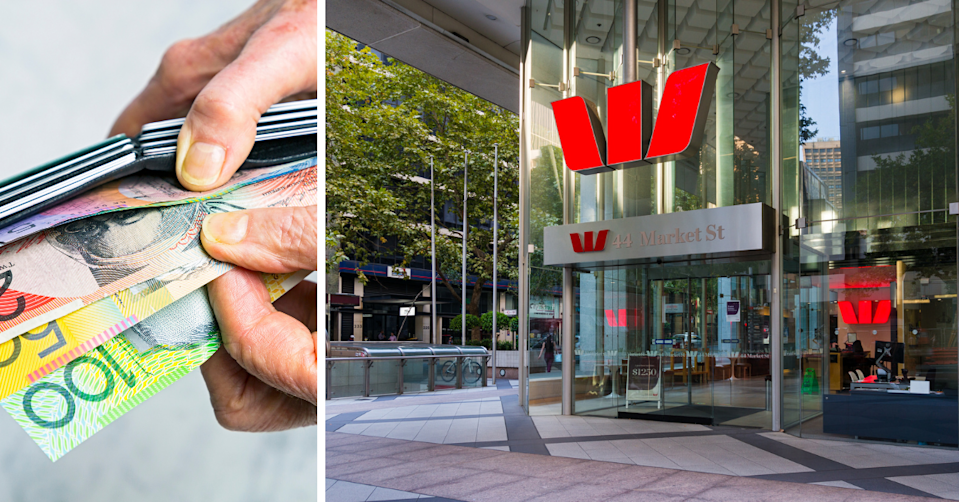 Hands remove Australian money from a wallet and the exterior of a Westpac branch