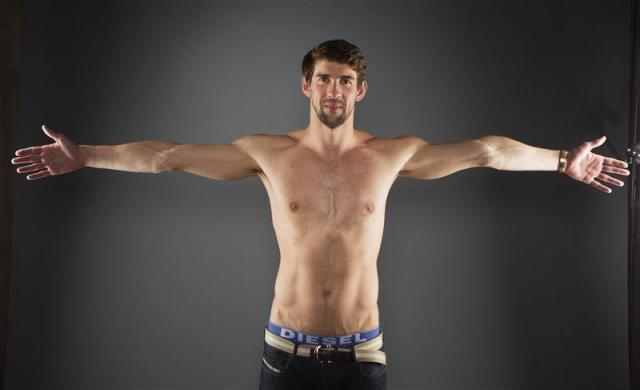 Swimmer Michael Phelps poses for a portrait during the 2012 U.S. Olympic Team Media Summit in Dallas, May 13, 2012.