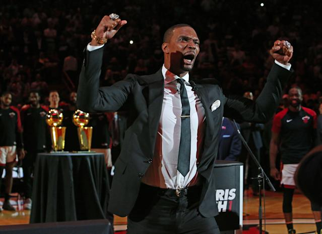 Former Miami Heat Chris Bosh reacts after his ceremony to retire his number at halftime of an NBA basketball game against the Orlando Magic at the AmericanAirlines Arena on Tuesday, March 26, 2019 in Miami. (David Santiago/Miami Herald/TNS via Getty Images)