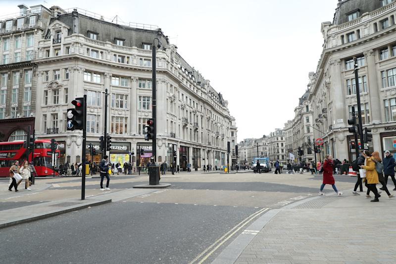 File picture of Oxford Circus in London: PA