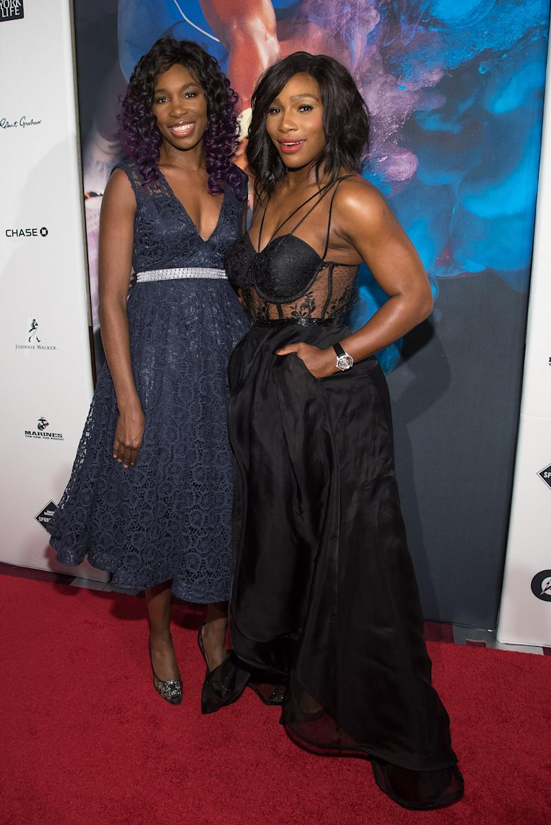 NEW YORK, NY - DECEMBER 15: Venus Williams (L) and Serena Williams attend the 2015 Sports Illustrated Sportsperson Of The Year Ceremony at Pier Sixty at Chelsea Piers on December 15, 2015 in New York City. (Photo by Mike Pont/WireImage)