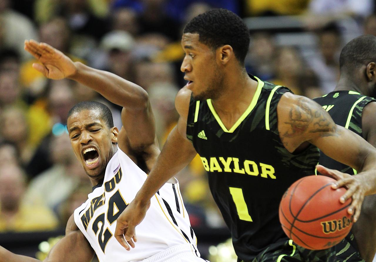 KANSAS CITY, MO - MARCH 10:  Perry Jones III #1 of the Baylor Bears drives against Kim English #24 of the Missouri Tigers in the first half during the championship game of the 2012 Big 12 Men's Basketball Tournament at Sprint Center on March 10, 2012 in Kansas City, Missouri.  (Photo by Jamie Squire/Getty Images)