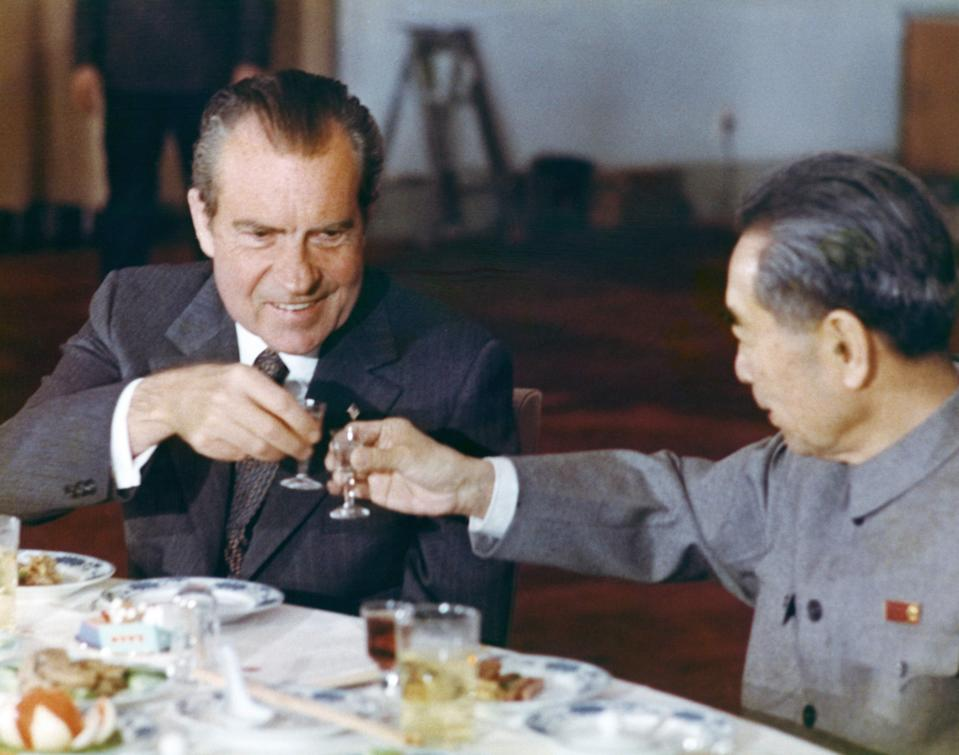 President Richard Nixon toasts with Chinese Prime Minister Zhou Enlai at a banquet in Beijing in February 1972 during an official visit to China.