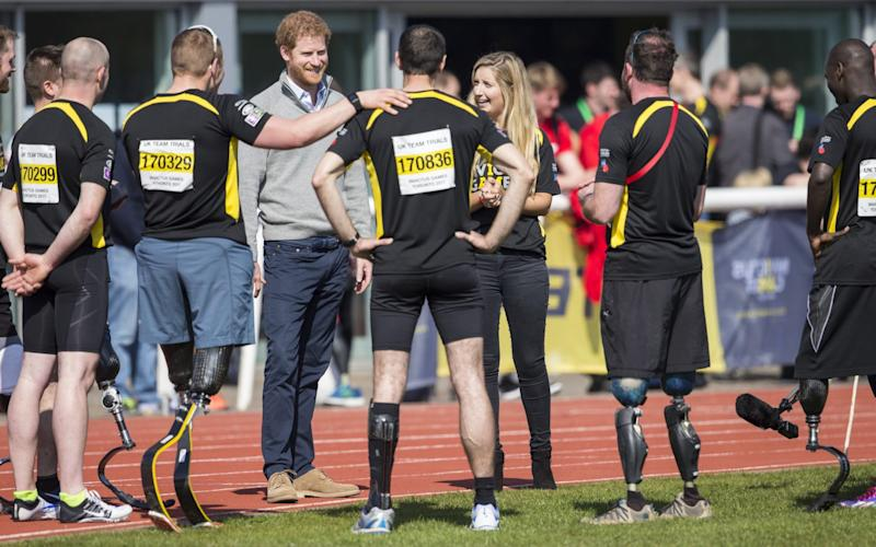 Prince Harry at the University of Bath Sports Village Invictus Games UK team trials in Bath on Bath on Apr 7th of this year - Credit: Rex Features