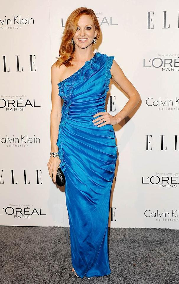 "Our other favorite fashionista at this year's ELLE soiree was Jayma Mays. The ""Glee"" cutie perfectly accentuated her fabulous head of red by donning a bright blue Catherine Malandrino gown, which featured cascading ruffles. (10/17/11)    Actress Jayma Mays arrives at the 18th Annual ELLE Women In Hollywood Tribute at The Four Seasons Hotel on October 17, 2011 in Beverly Hills, California. 18th Annual ELLE Women In Hollywood Tribute The Four Seasons Hotel Beverly Hills, CA United States October 17, 2011 Photo by Jon Kopaloff/FilmMagic.com To license this image (129519139), contact FilmMagic.com"