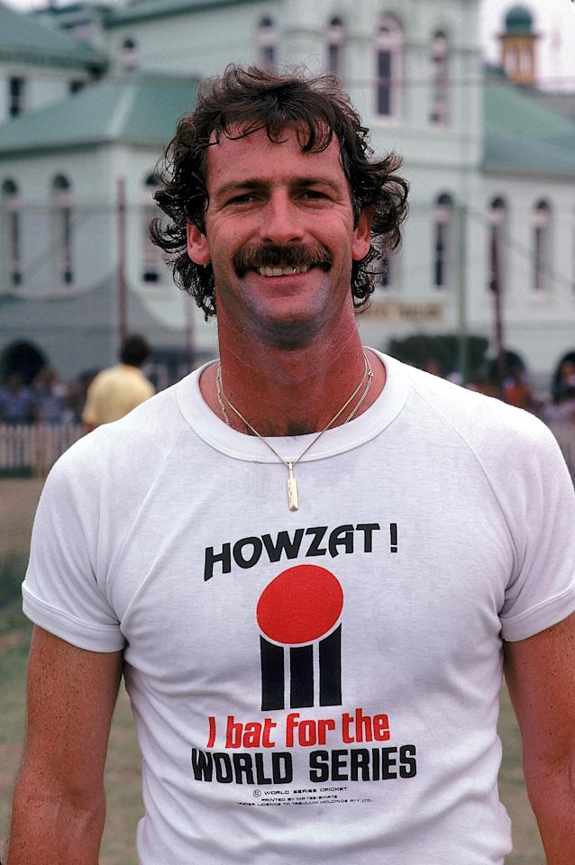 SYDNEY - JANUARY 17:  Dennis Lillee of Australia poses for the camera wearing a World Series Cricket T-shirt on January 17, 1978 in Sydney Australia.  (Photo by Adrian Murrell/Getty Images)