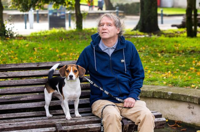 Christopher Palmer, who was prescribed an emotional support dog is facing eviction - for having a dog (Picture: SWNS)