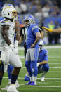 Detroit Lions kicker Matt Prater (5) reacts to missing an extra point in the first half of an NFL football game against the Los Angeles Chargers in Detroit, Sunday, Sept. 15, 2019. (AP Photo/Duane Burleson)