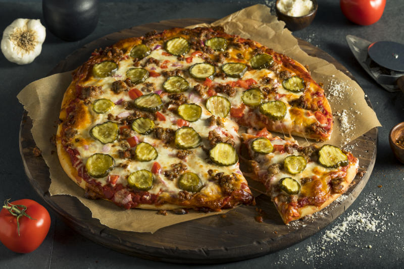 A gherkin pizza has been created and people are losing their minds over it [Photo: Getty]