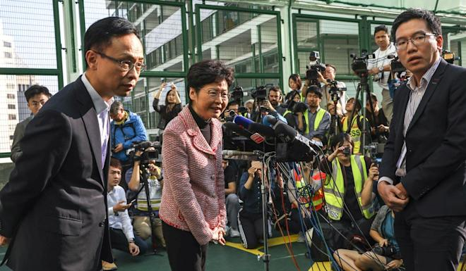 Chief Executive Carrie Lam casts her vote at Raimondi College. Photo: K.Y. Cheng
