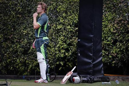 Australia's Watson takes a break from batting in the nets during a team training session at the Sydney Cricket Ground