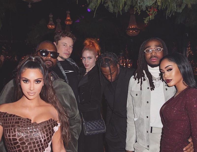 Elon Musk with Travis Scott at the Kardashians' 2019 Christmas party