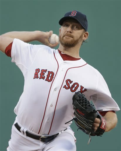 Boston Red Sox starting pitcher Ryan Dempster delivers to the Minnesota Twins during the first inning of a baseball game at Fenway Park in Boston, Tuesday, May 7, 2013. (AP Photo/Elise Amendola)