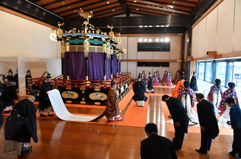 Ceremony to proclaim the emperor's enthronement to the world, called Sokuirei-Seiden-no-gi, at the Imperial Palace in Tokyo