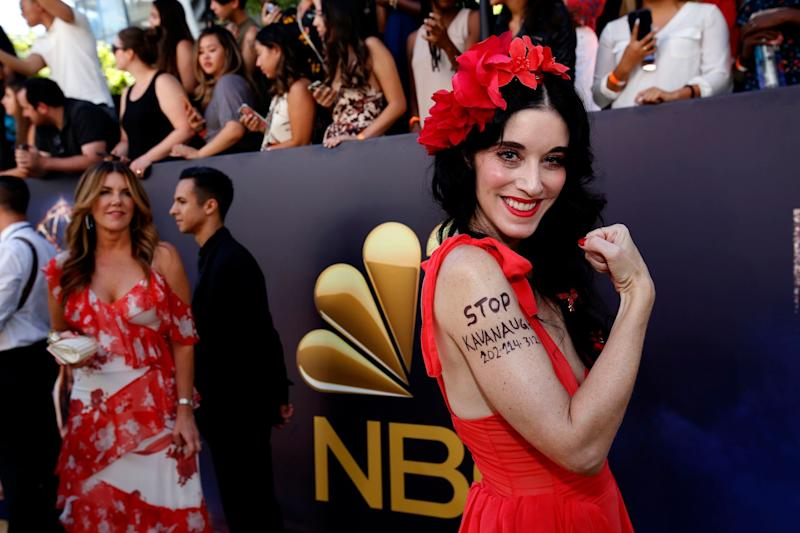 2018 Emmys: Sarah Sophie Flicker Wrote 'Stop Kavanaugh' on Her Arm in Black Marker