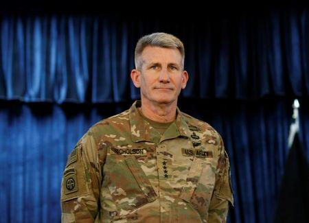 U.S. Army General John Nicholson, Commander of Resolute Support forces and U.S. forces in Afghanistan, arrives for a news conference in Kabul