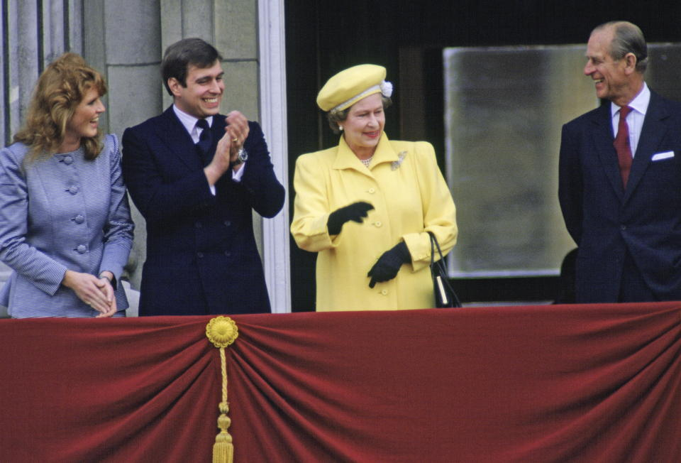 LONDON, UNITED KINGDOM - APRIL 21:  Prince Andrew With His Fiancee, Sarah Ferguson, On The Balcony Of Buckingham Palace With The Queen And Prince Philip For The Queen's 60th Birthday  (Photo by Tim Graham Photo Library via Getty Images)