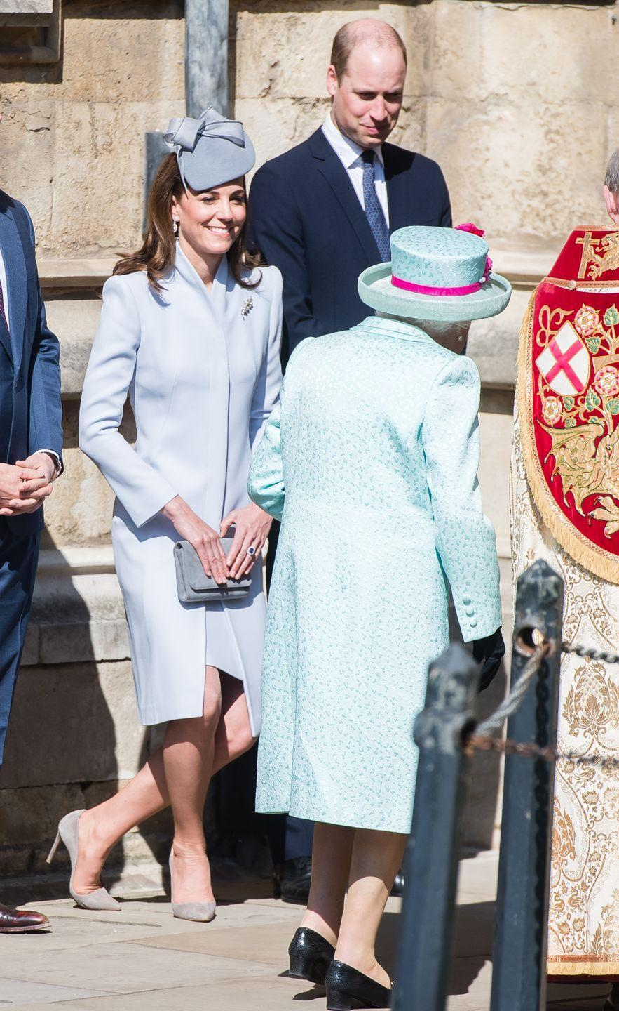 """<p>Even the Duchess of Cambridge has to curtsy to the Queen. This particular dip was <a href=""""https://www.townandcountrymag.com/society/tradition/g27131746/royal-family-easter-photos-2019/"""" rel=""""nofollow noopener"""" target=""""_blank"""" data-ylk=""""slk:caught on camera on Easter Sunday"""" class=""""link rapid-noclick-resp"""">caught on camera on Easter Sunday</a>.</p>"""