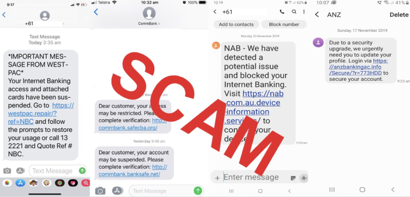 The text message scams Australians show be aware of. Screenshots of fake texts claiming to be from NAB, ANZ and CommBank.