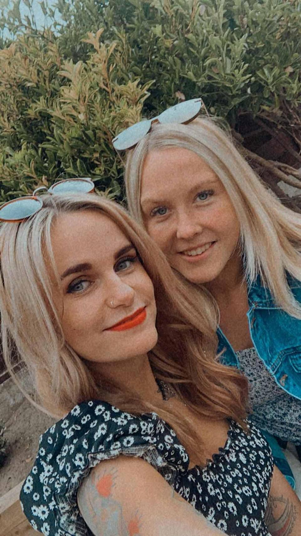 Kerrie at home with her friend Charlotte in early summer 2021. PA REAL LIFE/ COLLECT