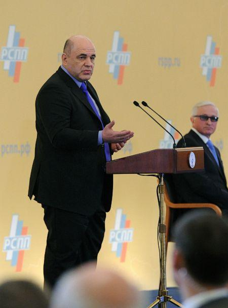 PHOTO: Federal Tax Service Chief Mikhail Mushustin speaking at President Vladimir Putin's meeting with the chief executives of the Russian Union of Industrialists and Entrepreneurs in Moscow, March 24, 2016. (Michael Klimentyev/Sputnik via AP, FILE)