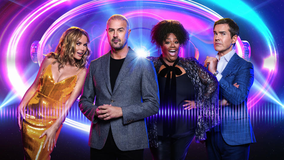 I Can See Your Voice - L-R Host (Paddy) and Celebrity Investigators Jimmy Carr, Alison Hammond, Paddy McGuinness, Amanda Holden (Thames/Ray Burmiston)
