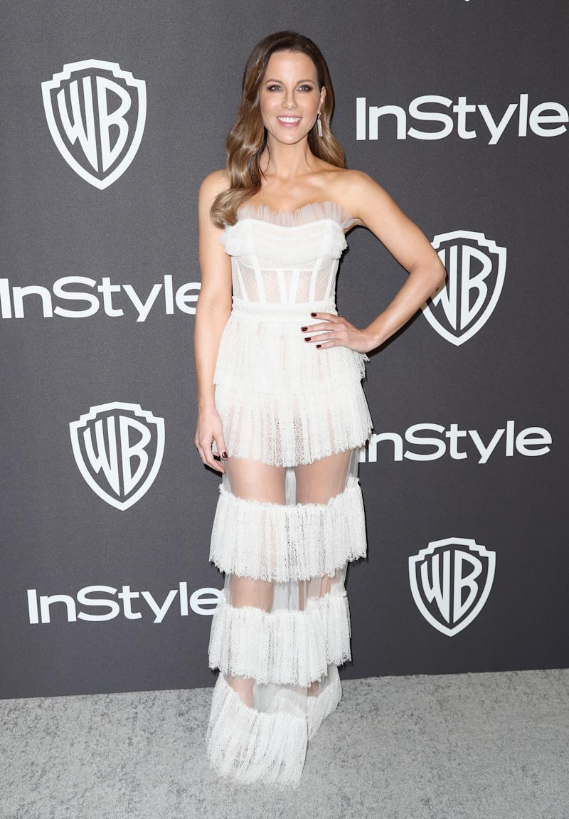 Kate Beckinsale in white dress attends the InStyle And Warner Bros. Golden Globes After Party 2019 at The Beverly Hilton Hotel
