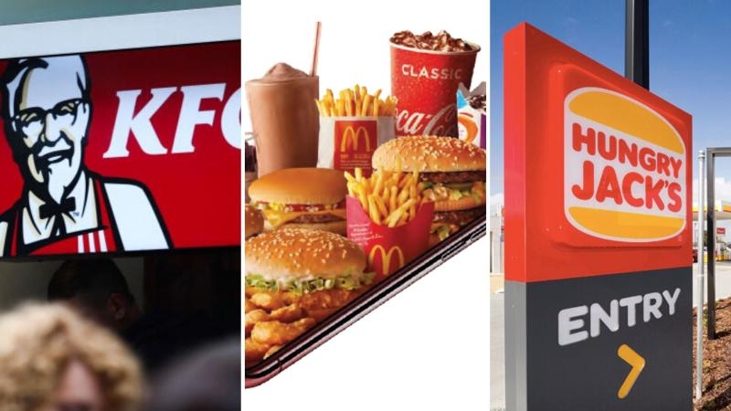 A KFC sign on the left, McDonald's food in the centre and Hungry Jack's sign on the right.