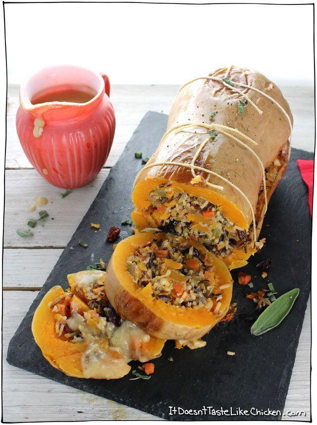"""<p>Packed with wild rice stuffing and bound in baker's twine, this butternut squash winks at the traditional Thanksgiving turkey.</p><p><strong>Get the recipe at <a href=""""https://itdoesnttastelikechicken.com/stuffed-roasted-butternut-squash/"""" rel=""""nofollow noopener"""" target=""""_blank"""" data-ylk=""""slk:It Doesn't Taste Like Chicken"""" class=""""link rapid-noclick-resp"""">It Doesn't Taste Like Chicken</a>.</strong> </p>"""