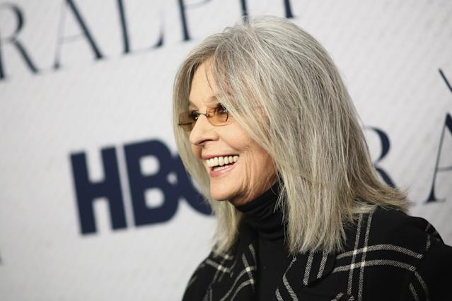 Diane Keaton is celebrated for her naturally grey hair. [Photo: Getty]