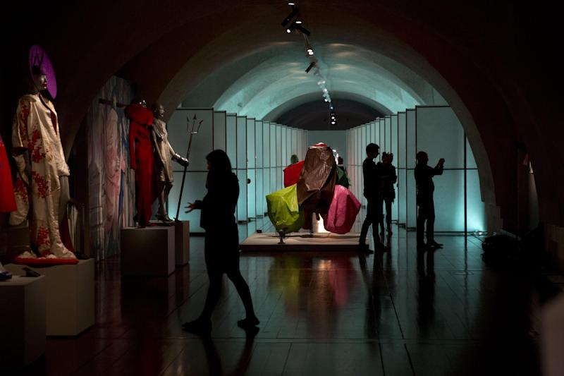 """Items by different designers are displayed at the press view of the """"Isabella Blow: Fashion Galore!"""" exhibition in London, Tuesday, Nov. 19, 2013. The exhibition, which runs from November 20 to March 2, celebrates the life and wardrobe of the late British patron of fashion and art who discovered many young fashion design talents. (AP Photo/Matt Dunham)"""