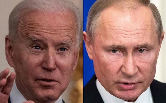 This combination of file pictures created on March 17, 2021 shows US President Joe Biden (L) speaking at White House in Washington, DC on March 15, 2021, and Russian President Vladimir Putin - ERIC BARADAT /AFP
