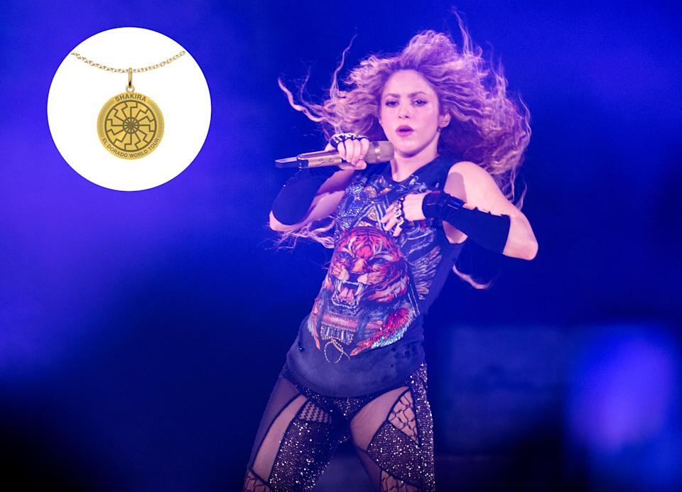 Shakira, performing at the O2 Arena on June 11, is under fire for a Nazi-like piece of tour merchandise. (Photo: Samir Hussein/Redferns)
