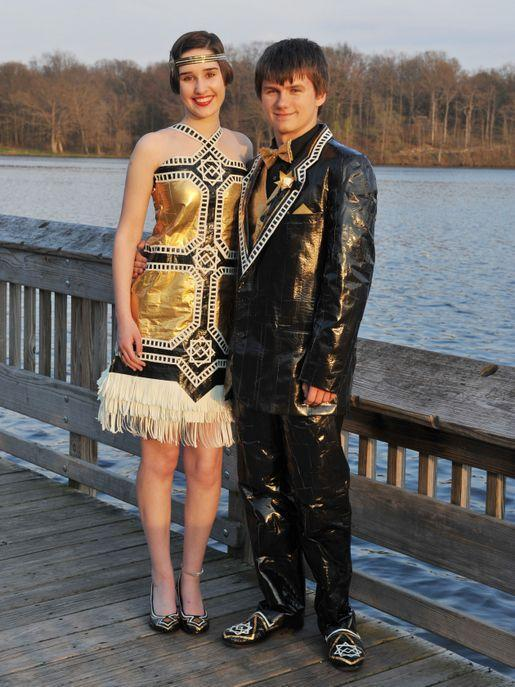 """<p>Gabrielle and her date matched their duct-tape ensemble to their school's <em>Great Gatsby </em>prom theme. """"Our design's geometric symmetry is modeled after the era's Art Deco style, while the bold contrast of gold, black, and white reflect the extravagance of life in the Roaring '20s,"""" they told <a href=""""http://stuckatprom.com/past-winners/2014/ryan-gabrielle/"""" rel=""""nofollow noopener"""" target=""""_blank"""" data-ylk=""""slk:stuckatprom.com"""" class=""""link rapid-noclick-resp"""">stuckatprom.com</a>.</p>"""