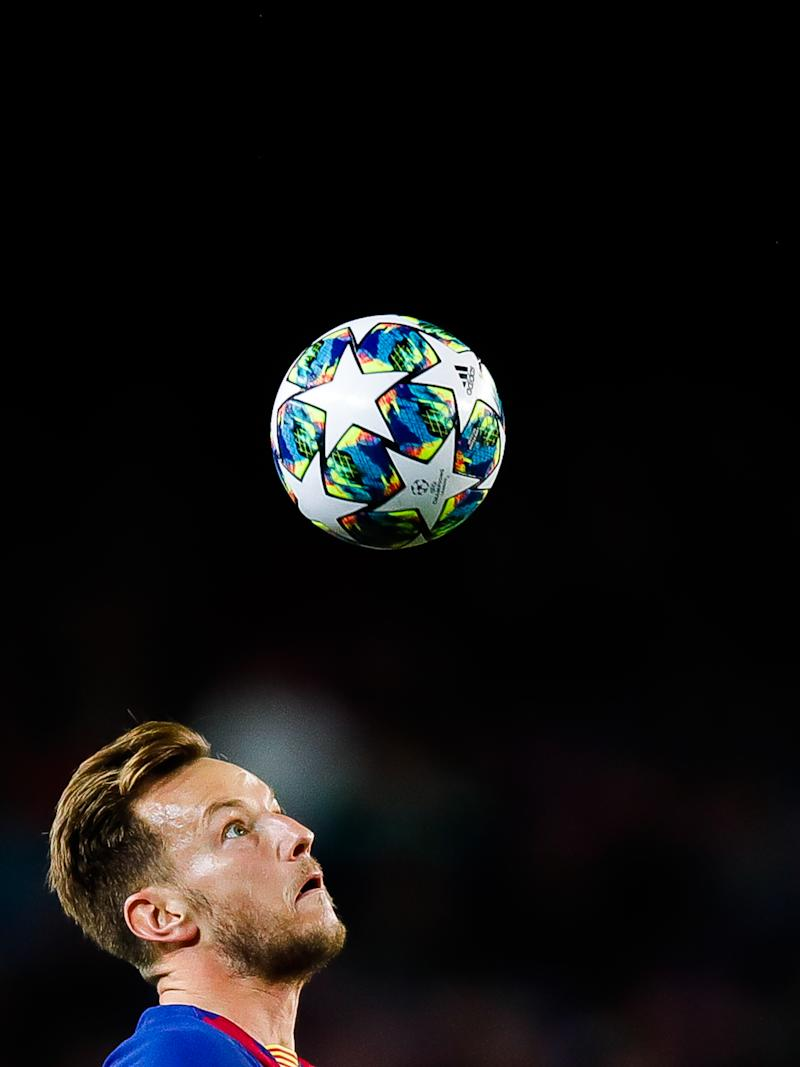 BARCELONA, SPAIN - NOVEMBER 05: Ivan Rakitic of FC Barcelona looks the ball during the UEFA Champions League group F match between FC Barcelona and Slavia Praha at Camp Nou on November 05, 2019 in Barcelona, Spain. (Photo by Eric Alonso/MB Media/Getty Images)