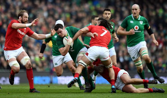 Rugby Union - Six Nations Championship - Ireland vs Wales - Aviva Stadium, Dublin, Republic of Ireland - February 24, 2018 Ireland's James Ryan in action with Wales' Alun Wyn Jones and Josh Navidi REUTERS/Clodagh Kilcoyne