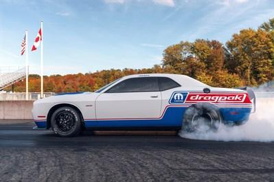 The 2020 Mopar Dodge Challenger Drag Pak, unveiled at the 2019 SEMA Show, delivers sportsman racers a new, turnkey package loaded with suspension and chassis upgrades and is certified for NHRA and NMCA competition. Production is limited to 50 serialized units.