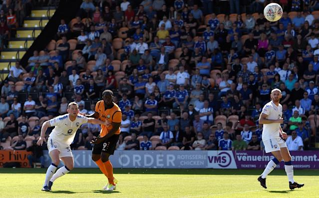 "Soccer Football - League Two - Barnet vs Chesterfield - The Hive, London, Britain - May 5, 2018 Barnet's John Akinde scores their first goal Action Images/Adam Holt EDITORIAL USE ONLY. No use with unauthorized audio, video, data, fixture lists, club/league logos or ""live"" services. Online in-match use limited to 75 images, no video emulation. No use in betting, games or single club/league/player publications. Please contact your account representative for further details."