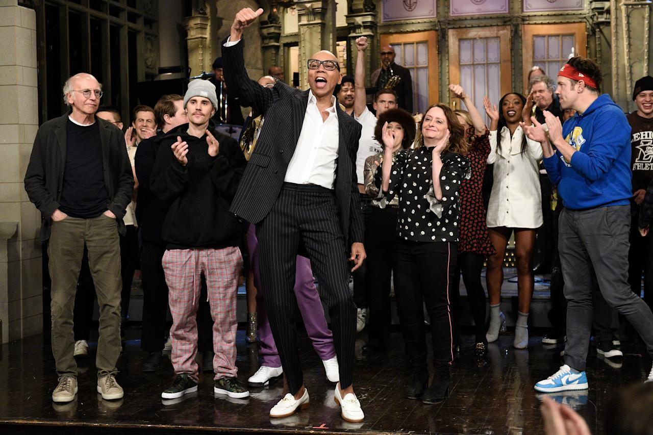 RuPaul celebrates his first <em>SNL</em> hosting gig with musical guest Justin Bieber, as well as special guests Larry David, Rachel Dratch and Jason Sudeikis on Saturday night in N.Y.C.