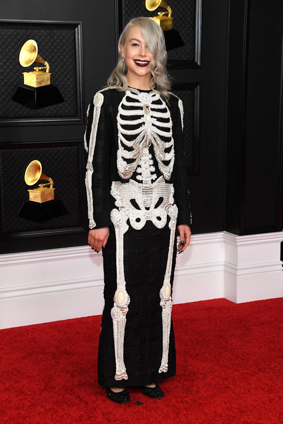 """<h2>Phoebe Bridgers in Thom Browne<br></h2><br>Keeping with her skeleton chic red carpet signature, """"Motion Sickness"""" singer Phoebe Bridgers """"basically stole"""" this bedazzled Thom Browne two-piece from the brand's spring '18 collection. <br><br><span class=""""copyright"""">Photo: Kevin Mazur/Getty Images.</span>"""