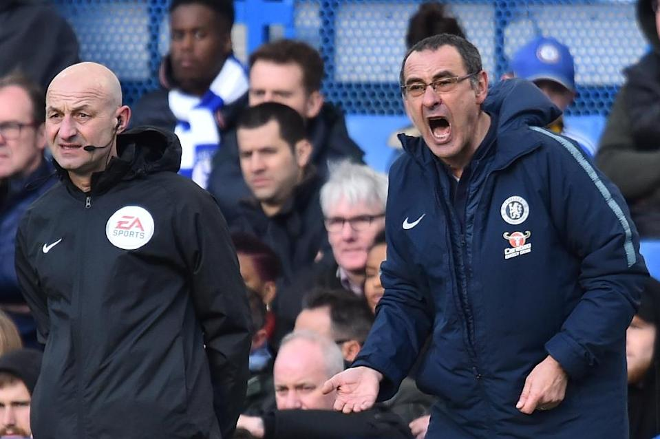 Chelsea manager Maurizio Sarri is under pressure to secure Champions League qualification for next season (AFP Photo/Glyn KIRK )