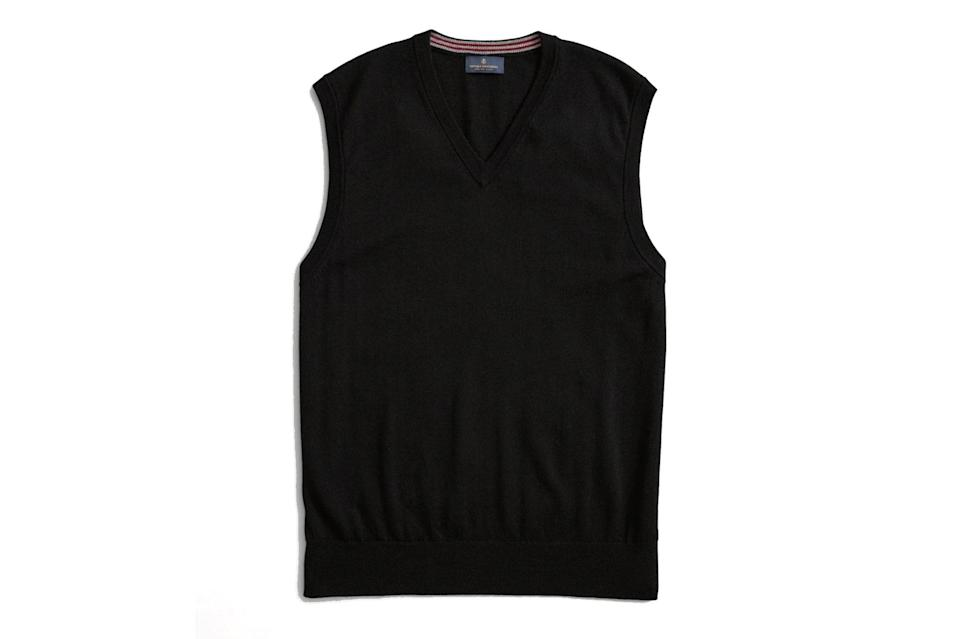 """It's time to welcome '90s-era sweater vests back into your life with open, sleeveless arms. Toss one over a boxy tee on the weekend, or go full college professor and use it to amp up your finest sportcoat and chinos.<br> <br> <em>Brooks Brothers washable merino wool V-neck vest</em> $95, Brooks Brothers. <a href=""""https://www.brooksbrothers.com/Washable-Merino-Wool-V-Neck-Vest/DS00037,default,pd.html?dwvar_DS00037_Color=BLCK&contentpos=1&cgid=0224"""" rel=""""nofollow noopener"""" target=""""_blank"""" data-ylk=""""slk:Get it now!"""" class=""""link rapid-noclick-resp"""">Get it now!</a>"""