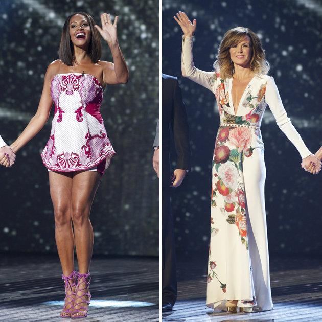 BGT Fash off: For the first live show, Alesha Dixon donned a tiny mini-dress which showed off her toned legs. Amanda Holden, however, went for a plunging v-neck maxi dress. Copyright [Rex]