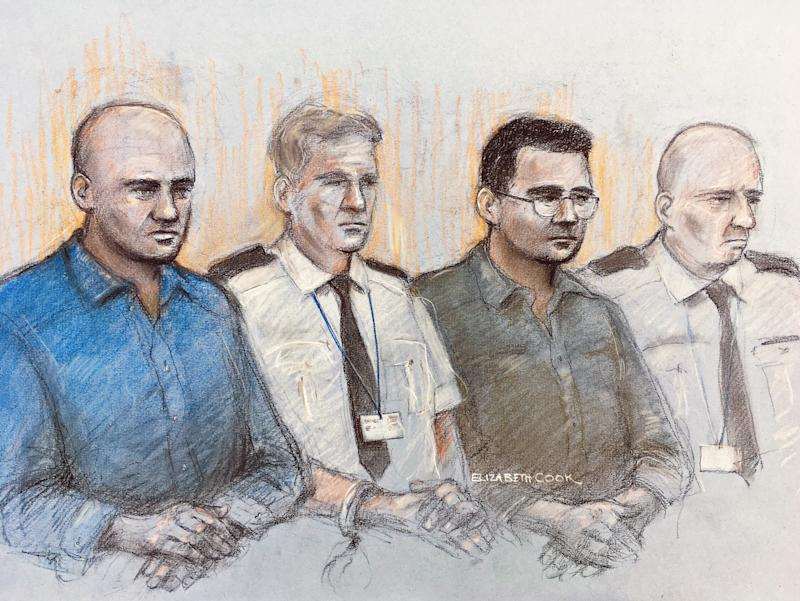 Court artist sketch by Elizabeth Cook of Gheorghe Nica (left) and Eamonn Harrison (right) two of four men to face trial, at the Old Bailey in London, for being part of an alleged people-smuggling ring linked to the death of 39 migrants in a lorry in Essex.